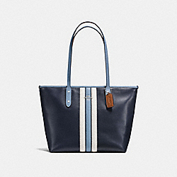 CITY ZIP TOTE IN NATURAL REFINED LEATHER WITH VARSITY STRIPE - F59456 - SILVER/MIDNIGHT