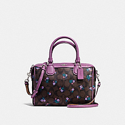 COACH MINI BENNETT SATCHEL IN SIGNATURE C RANCH FLORAL PRINT COATED CANVAS - SILVER/BROWN MULTI - F59461