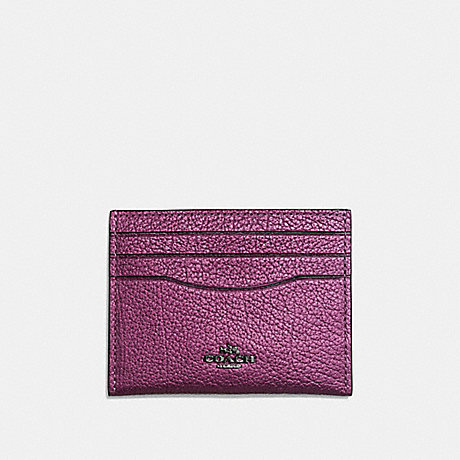 COACH CARD CASE - MATTE BLACK/METALLIC MAUVE - f59462