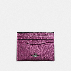 CARD CASE - MATTE BLACK/METALLIC MAUVE - COACH F59462