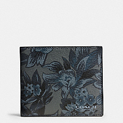 3-IN-1 WALLET IN FLORAL HAWAIIAN PRINT COATED CANVAS - f59469 - BLUE HAWAIIAN FLORAL