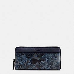 ACCORDION WALLET IN FLORAL HAWAIIAN PRINT COATED CANVAS - f59470 - BLUE HAWAIIAN FLORAL