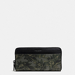 ACCORDION WALLET IN FLORAL HAWAIIAN PRINT COATED CANVAS - f59470 - GREEN HAWAIIAN FLORAL