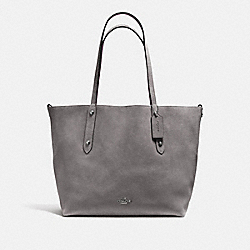 REVERSIBLE LARGE MARKET TOTE - f59503 - Heather Grey/Oxblood/DARK GUNMETAL