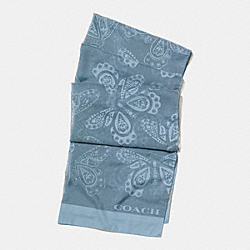 BURN OUT BUTTERFLY OBLONG SCARF - f59507 - CORNFLOWER