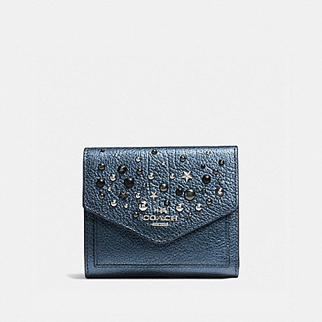 COACH SMALL WALLET WITH STAR RIVETS - SILVER/METALLIC BLUE - f59510