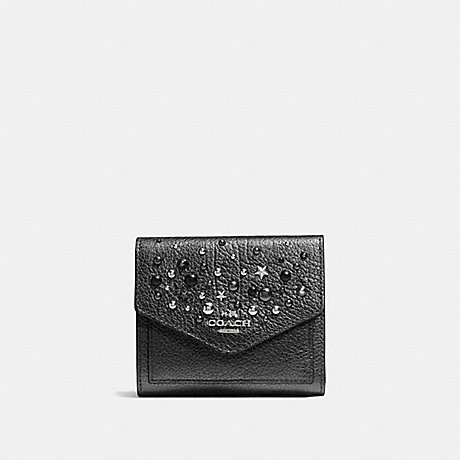 COACH SMALL WALLET WITH STAR RIVETS - SILVER/METALLIC GRAPHITE - f59510