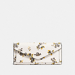 SOFT WALLET WITH FLORAL BUNDLE PRINT - PRAIRIE PRINT CHALK/DARK GUNMETAL - COACH F59512