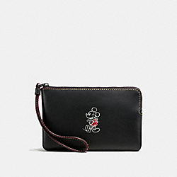 CORNER ZIP WRISTLET IN GLOVE CALF LEATHER WITH MICKEY - f59528 - ANTIQUE NICKEL/BLACK