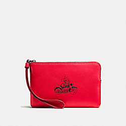 CORNER ZIP WRISTLET IN GLOVE CALF LEATHER WITH MICKEY - f59528 - BLACK ANTIQUE NICKEL/BRIGHT RED