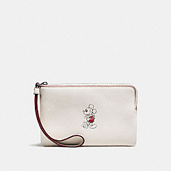CORNER ZIP WRISTLET IN GLOVE CALF LEATHER WITH MICKEY - f59528 - BLACK ANTIQUE NICKEL/CHALK