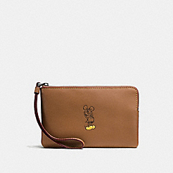 CORNER ZIP WRISTLET IN GLOVE CALF LEATHER WITH MICKEY - f59528 - ANTIQUE NICKEL/SADDLE