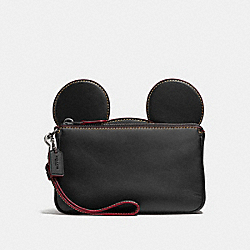 WRISTLET IN GLOVE CALF LEATHER WITH MICKEY EARS - f59529 - ANTIQUE NICKEL/BLACK