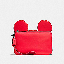 WRISTLET IN GLOVE CALF LEATHER WITH MICKEY EARS - f59529 - BLACK ANTIQUE NICKEL/BRIGHT RED