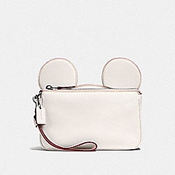 WRISTLET IN GLOVE CALF LEATHER WITH MICKEY EARS - f59529 - BLACK ANTIQUE NICKEL/CHALK