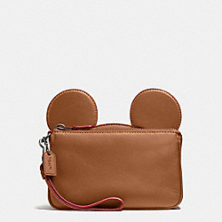 WRISTLET IN GLOVE CALF LEATHER WITH MICKEY EARS - f59529 - ANTIQUE NICKEL/SADDLE