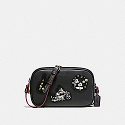 COACH CROSSBODY POUCH IN GLOVE CALF LEATHER WITH MICKEY PATCHES - ANTIQUE NICKEL/BLACK MULTI - F59532