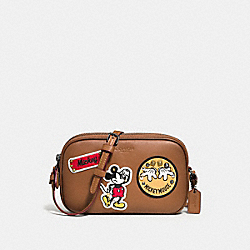 COACH CROSSBODY POUCH IN GLOVE CALF LEATHER WITH MICKEY PATCHES - QB/Saddle Multi - F59532
