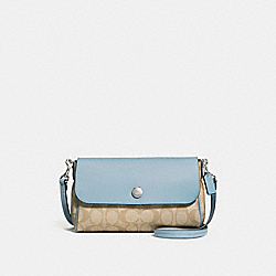 REVERSIBLE CROSSBODY IN SIGNATURE COATED CANVAS - f59534 - SILVER/LIGHT KHAKI