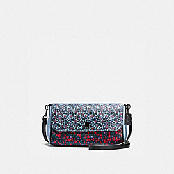 REVERSIBLE CROSSBODY IN RANCH FLORAL PRINT COATED CANVAS - f59535 - BLACK ANTIQUE NICKEL/RED
