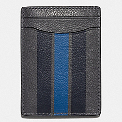 COACH BOXED 3-IN-1 CARD IN SMOOTH CALF LEATHER WITH VARSITY STRIPE - GRAPHITE/MIDNIGHT NAVY/DENIM - F59536