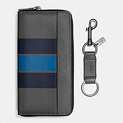 ACCORDION WALLET IN SMOOTH CALF LEATHER WITH VARSITY STRIPE - f59537 - GRAPHITE/MIDNIGHT NAVY/DENIM