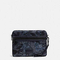 MEDIUM TECH POUCH IN FLORAL HAWAIIAN PRINT COATED CANVAS - f59544 - BLUE HAWAIIAN FLORAL