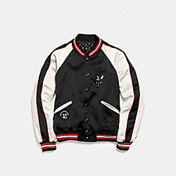 MICKEY REVERSIBLE VARSITY JACKET - BLACK - COACH F59550