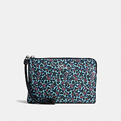 CORNER ZIP WRISTLET IN RANCH FLORAL PRINT COATED CANVAS - f59551 - SILVER/MIST