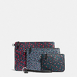 POUCH TRIO IN RANCH FLORAL PRINT MIX COATED CANVAS - SILVER/MULTI - COACH F59555
