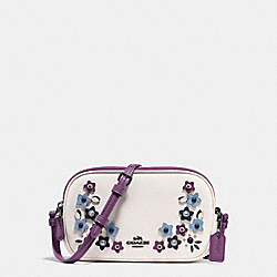 CROSSBODY POUCH IN NATURAL REFINED LEATHER WITH FLORAL APPLIQUE - F59557 - BLACK ANTIQUE NICKEL/CHALK MULTI