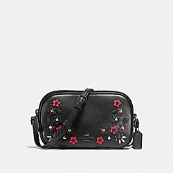 CROSSBODY POUCH IN NATURAL REFINED LEATHER WITH FLORAL APPLIQUE - F59557 - ANTIQUE NICKEL/BLACK MULTI