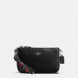 LARGE WRISTLET 19 IN NATURAL REFINED LEATHER WITH FLORAL APPLIQUE STRAP - f59558 - ANTIQUE NICKEL/BLACK