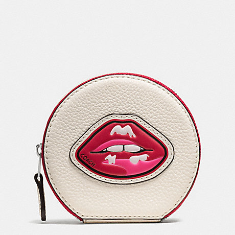 COACH COIN CASE IN PEBBLE LEATHER WITH LIPS - SILVER/MULTI - f59559