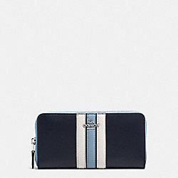 COACH ACCORDION ZIP WALLET IN NATURAL REFINED LEATHER WITH VARSITY STRIPE - SILVER/MIDNIGHT - F59560