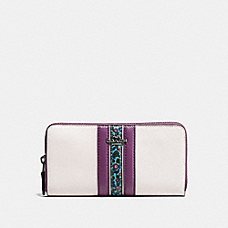 ACCORDION ZIP WALLET IN NATURAL REFINED LEATHER WITH FLORAL PRINT - f59561 - BLACK ANTIQUE NICKEL/CHALK MULTI