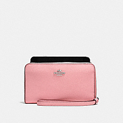 COACH PHONE WALLET IN BUTTERFLY DOT PRINT COATED CANVAS - SILVER/BLUSH MULTI - F59724