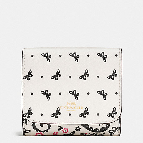 COACH SMALL WALLET IN BUTTERFLY BANDANA PRINT COATED CANVAS - IMITATION GOLD/CHALK/BRIGHT PINK - f59725
