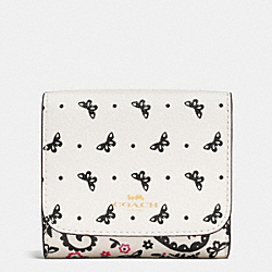 SMALL WALLET IN BUTTERFLY BANDANA PRINT COATED CANVAS - IMITATION GOLD/CHALK/BRIGHT PINK - COACH F59725