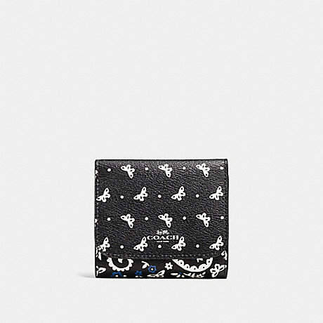COACH SMALL WALLET IN BUTTERFLY BANDANA PRINT COATED CANVAS - SILVER/BLACK LAPIS - f59725