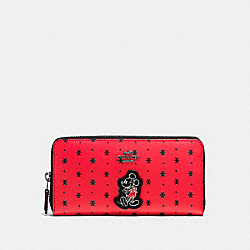 ACCORDION ZIP WALLET IN PRAIRIE BANDANA PRINT COATED CANVAS WITH MICKEY - f59728 - QB/Bright Red Black