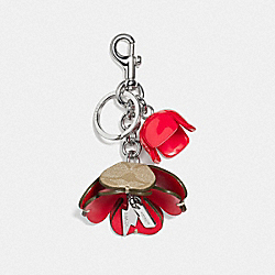 COACH SIGNATURE C TEA ROSE BAG CHARM - SILVER/LIGHT KHAKI - F59742