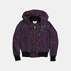 RANCH FLORAL VARSITY MA-1 JACKET - f59774 - BRIGHT RED