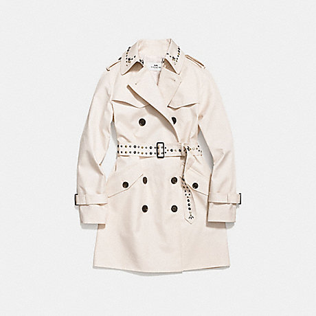 COACH STUDDED TRENCH COAT - CHALK - f59779