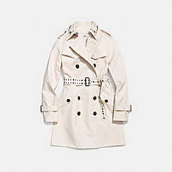 STUDDED TRENCH COAT - f59779 - CHALK