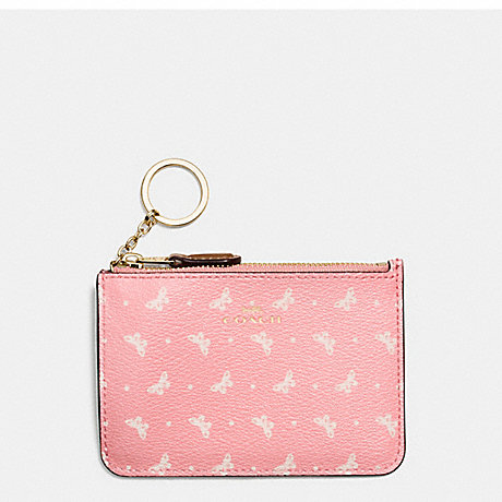 COACH KEY POUCH WITH GUSSET IN BUTTERFLY DOT PRINT COATED CANVAS - IMITATION GOLD/BLUSH CHALK - f59781