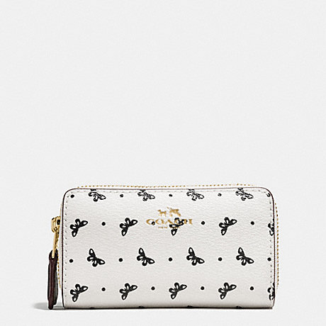 COACH DOUBLE ZIP COIN CASE IN BUTTERFLY DOT PRINT COATED CANVAS - IMITATION GOLD/CHALK/BLACK - f59782