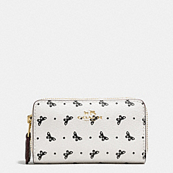 DOUBLE ZIP COIN CASE IN BUTTERFLY DOT PRINT COATED CANVAS - f59782 - IMITATION GOLD/CHALK/BLACK