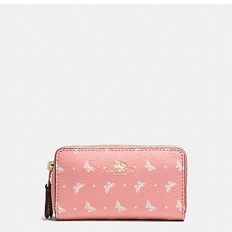 COACH DOUBLE ZIP COIN CASE IN BUTTERFLY DOT PRINT COATED CANVAS - IMITATION GOLD/BLUSH CHALK - f59782