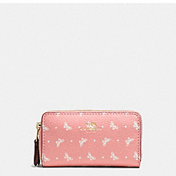 DOUBLE ZIP COIN CASE IN BUTTERFLY DOT PRINT COATED CANVAS - f59782 - IMITATION GOLD/BLUSH CHALK